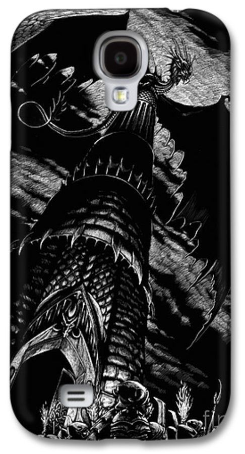 Dragon Galaxy S4 Case featuring the drawing Dragon Tower by Stanley Morrison