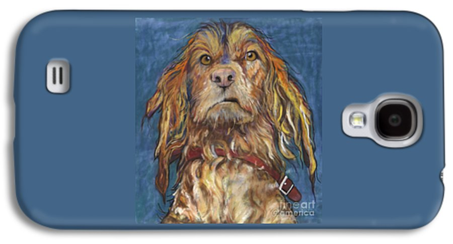 Golden Retriever Painting Galaxy S4 Case featuring the pastel Drenched by Pat Saunders-White