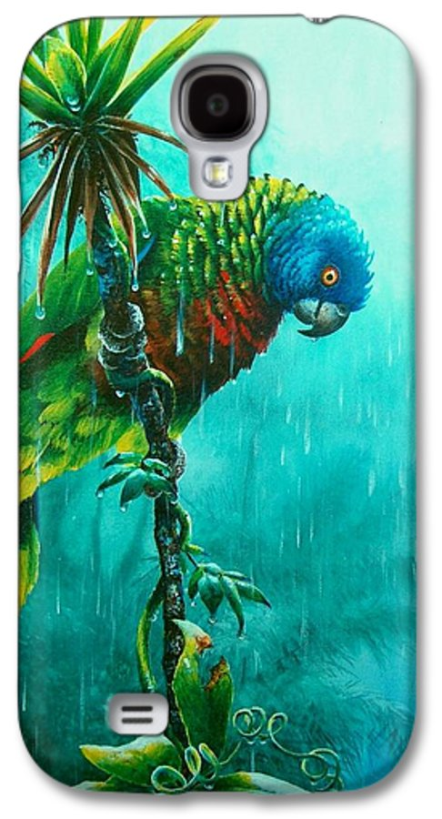 Chris Cox Galaxy S4 Case featuring the painting Drenched - St. Lucia Parrot by Christopher Cox