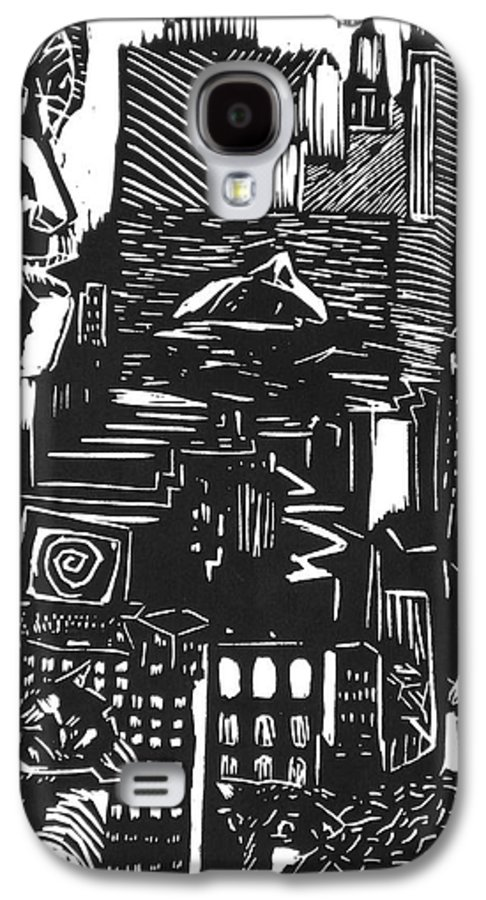 Apocalypse Buildings City Drown Lino Metropolis People Print Sheep Darkestartist Darkest Artist Black Galaxy S4 Case featuring the mixed media Drowning In Metropolis by Darkest Artist