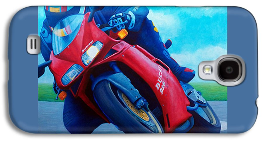 Motorcycle Galaxy S4 Case featuring the painting Ducati 916 by Brian Commerford