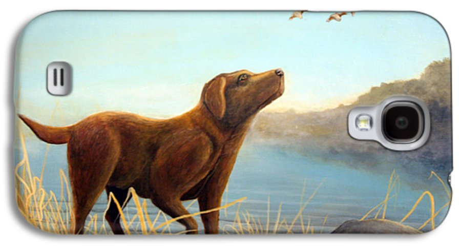 Chocolate Lab Painting Galaxy S4 Case featuring the Dutch by Rick Huotari