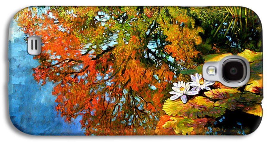 Landscape Galaxy S4 Case featuring the painting Early Morning Fall Colors by John Lautermilch