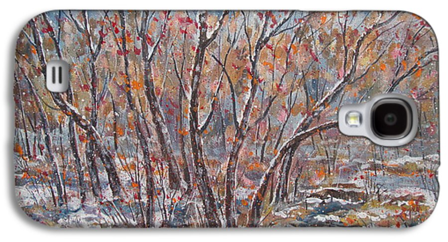 Landscape Galaxy S4 Case featuring the painting Early Snow. by Leonard Holland