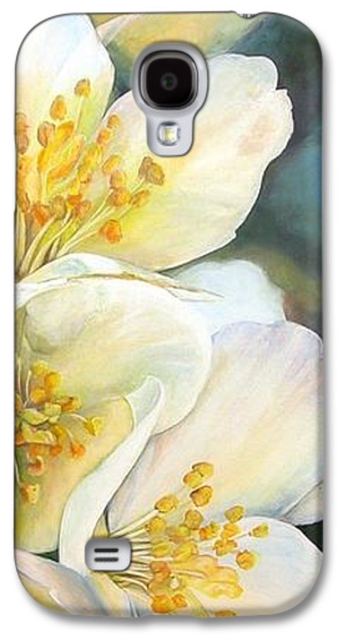Floral Painting Galaxy S4 Case featuring the painting Eglantine by Muriel Dolemieux