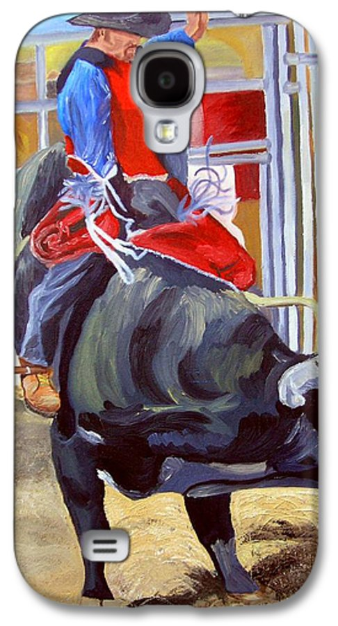 Bull Riding Galaxy S4 Case featuring the painting Eight Long Seconds by Michael Lee