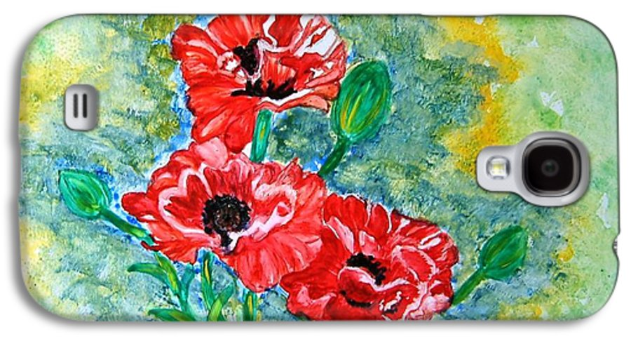 Poppies Flowers Red Yellow Green Blue Acrylic Watercolor Yupo Elegant Landscape Galaxy S4 Case featuring the painting Elegant Poppies by Manjiri Kanvinde