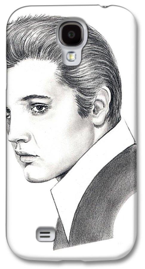 Pencil. Portrait Galaxy S4 Case featuring the drawing Elvis Presley by Murphy Elliott