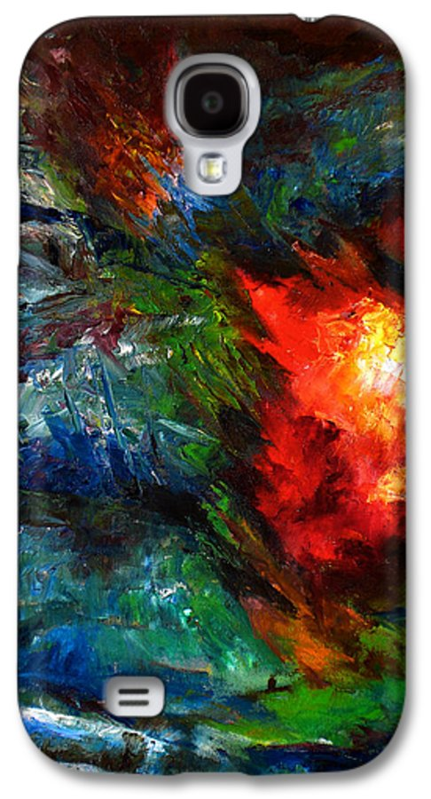 Abstract Galaxy S4 Case featuring the painting Embrace by Lou Ewers