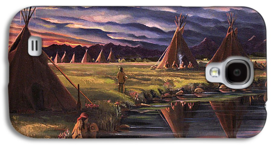Native American Galaxy S4 Case featuring the painting Encampment At Dusk by Nancy Griswold