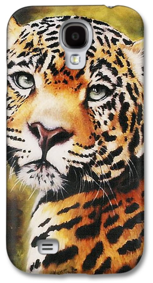 Jaguar Galaxy S4 Case featuring the pastel Enchantress by Barbara Keith
