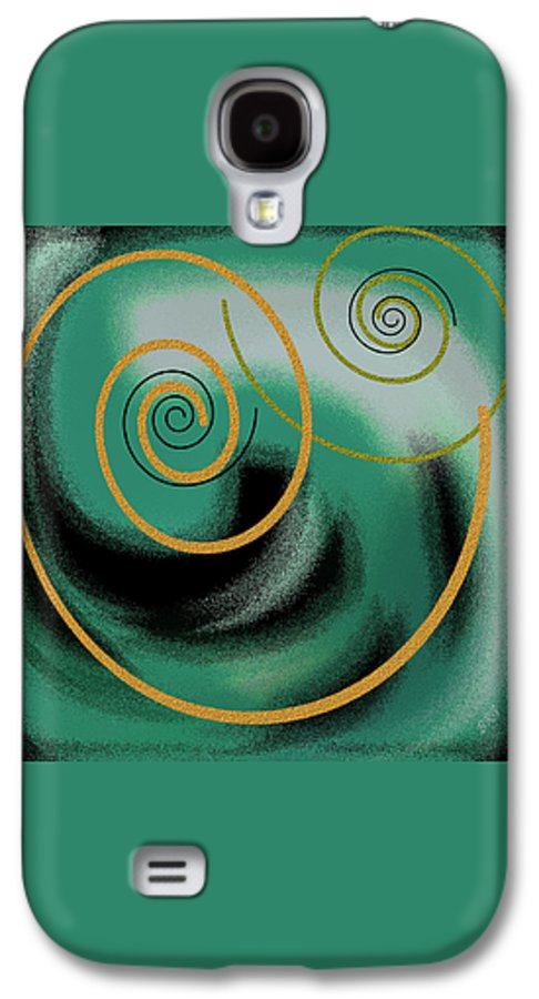 Green Abstract Galaxy S4 Case featuring the digital art Encounter by Ben and Raisa Gertsberg