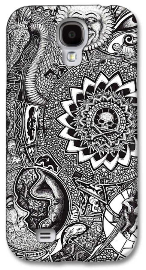 Black And White Galaxy S4 Case featuring the drawing Epiphany by Tobey Anderson