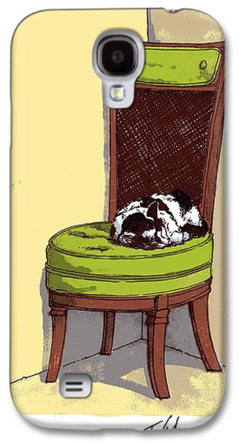 Cat Galaxy S4 Case featuring the drawing Ernie And Green Chair by Tobey Anderson