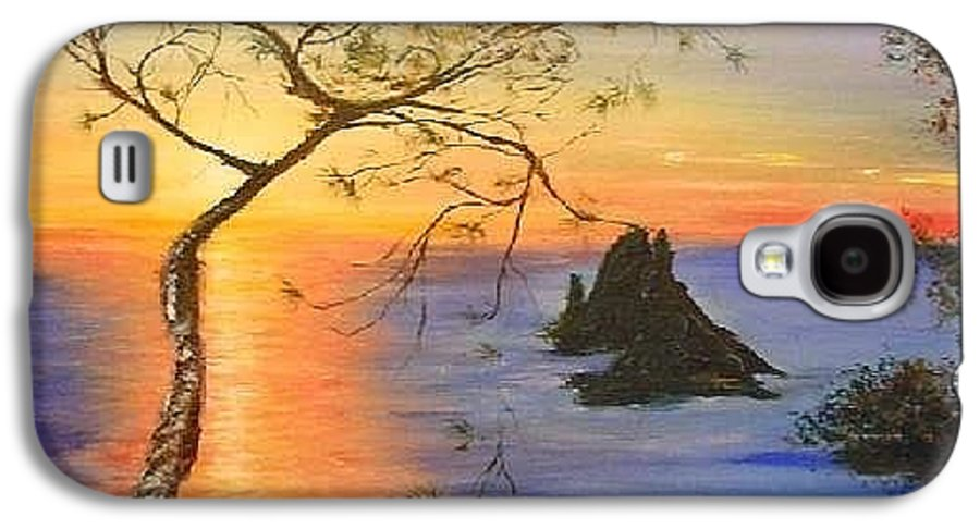 Sunset Galaxy S4 Case featuring the painting Es Vedra Island Off Ibiza South Coast by Lizzy Forrester