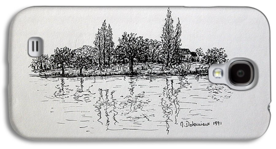 Landscape Galaxy S4 Case featuring the drawing Etang by Muriel Dolemieux