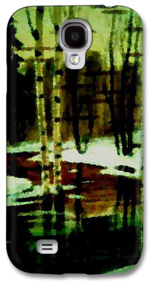 Sprig.forest.snow.water.trees.birches. Puddles.sky.reflection. Galaxy S4 Case featuring the digital art European Spring by Dr Loifer Vladimir