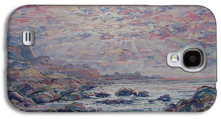 Seascape Galaxy S4 Case featuring the painting Evening At The Beach by Leonard Holland