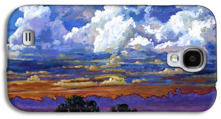 Landscape Galaxy S4 Case featuring the painting Evening Clouds Over The Prairie by John Lautermilch
