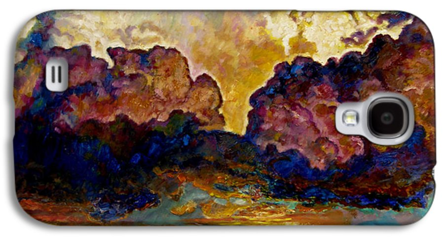 Sunset Galaxy S4 Case featuring the painting Evening Clouds Over The Valley by John Lautermilch