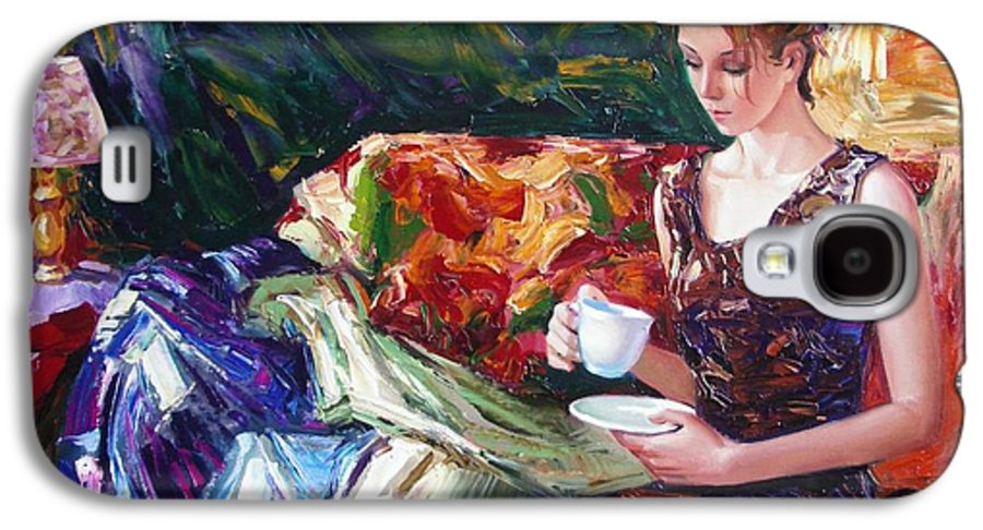 Figurative Galaxy S4 Case featuring the painting Evening Coffee by Sergey Ignatenko