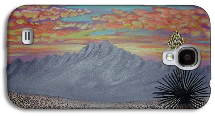 Desertscape Galaxy S4 Case featuring the painting Evening In The Desert by Marco Morales