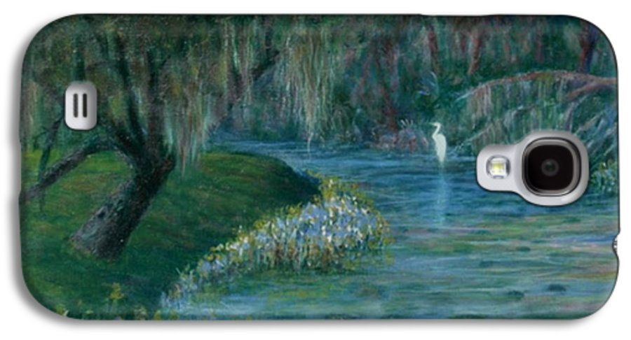 Low Country; Egrets; Lily Pads Galaxy S4 Case featuring the painting Evening Shadows by Ben Kiger