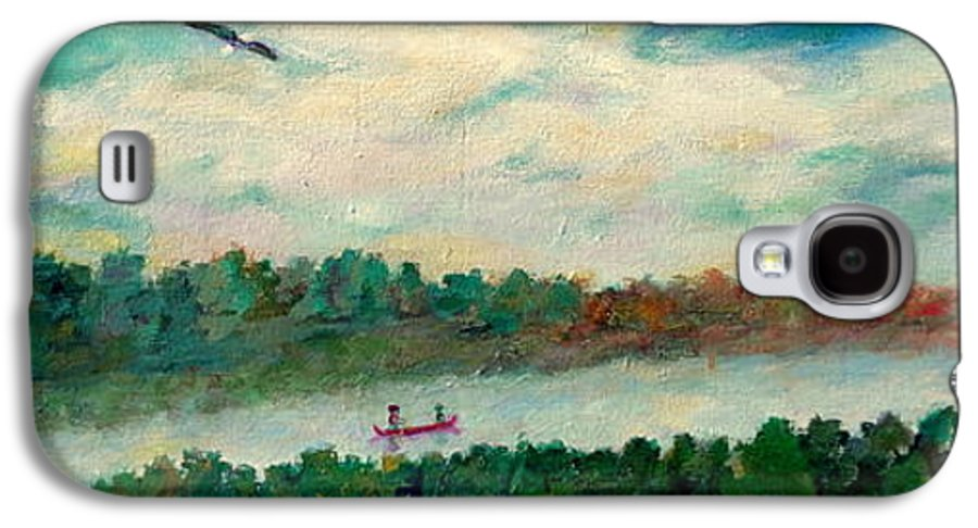Canoeing On The Big Canadian Lakes Galaxy S4 Case featuring the painting Exploring Our Lake by Naomi Gerrard