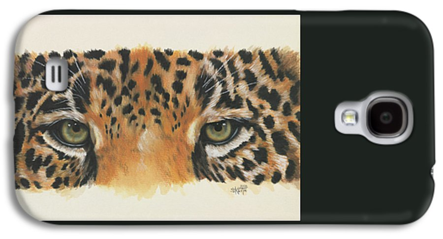 Jaguar Galaxy S4 Case featuring the painting Eye-catching Jaguar by Barbara Keith