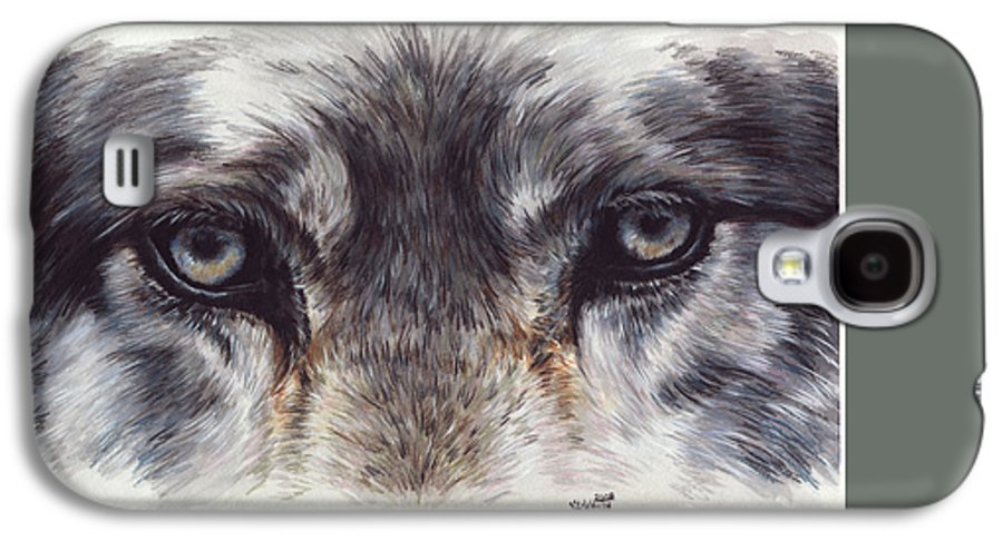 Wolf Galaxy S4 Case featuring the painting Eye-catching Wolf by Barbara Keith