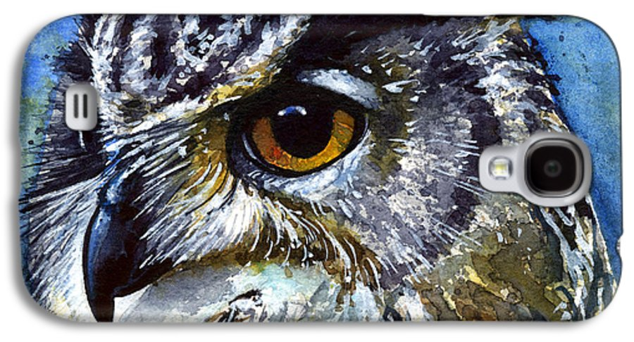 Owls Galaxy S4 Case featuring the painting Eyes Of Owls No.25 by John D Benson