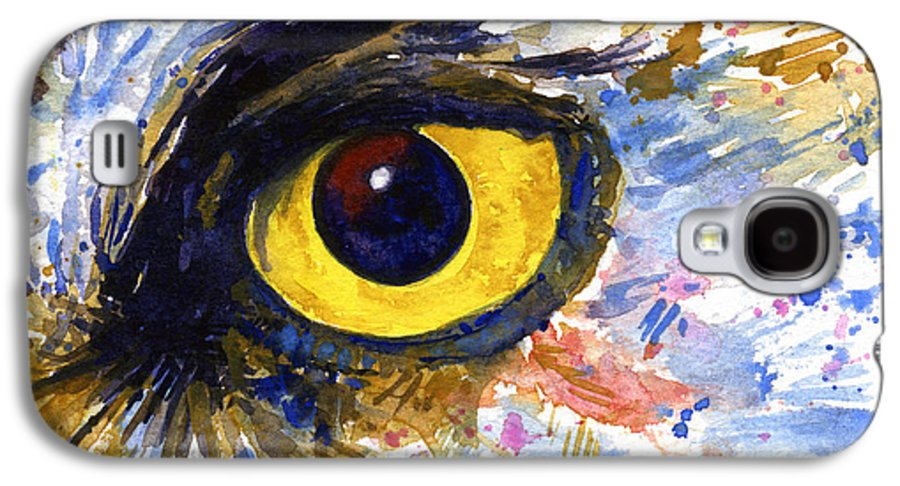 Owls Galaxy S4 Case featuring the painting Eyes Of Owl's No.6 by John D Benson
