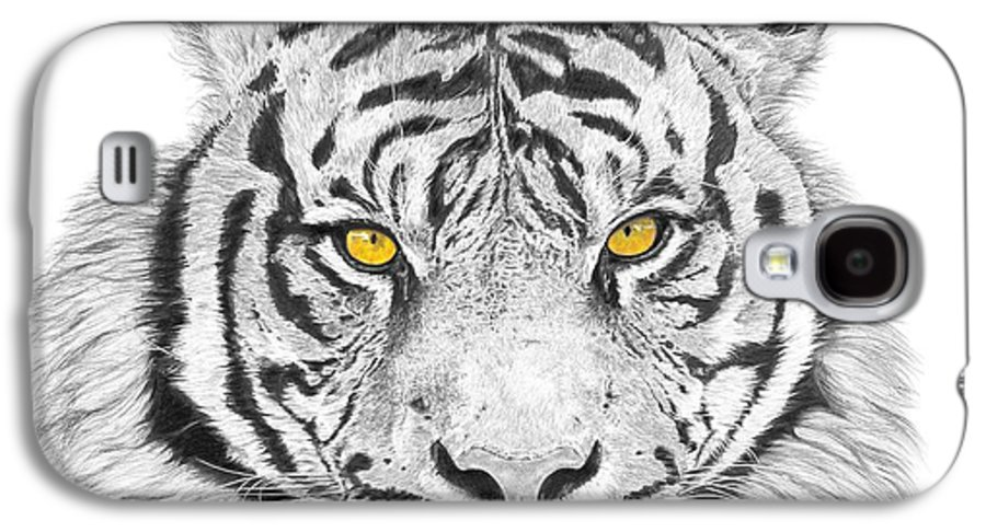 Tiger Galaxy S4 Case featuring the drawing Eyes Of The Tiger by Shawn Stallings