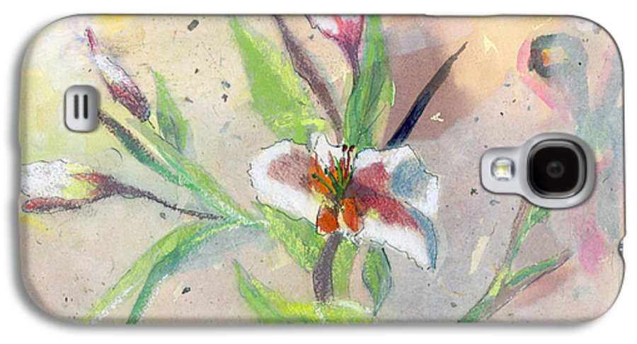 Flower Galaxy S4 Case featuring the painting Faded Lilies by Arline Wagner
