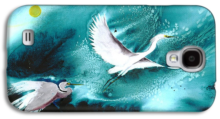 A Pair Of Egrets By The Water At Night- A Watercolor Painting Galaxy S4 Case featuring the painting Fairies by Mui-Joo Wee