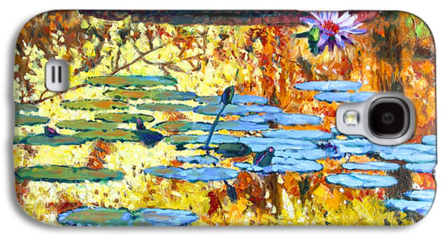 Fall Galaxy S4 Case featuring the painting Fall Colors On The Lily Pond by John Lautermilch