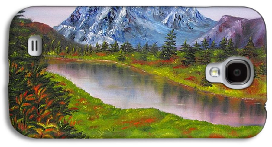 Fall Galaxy S4 Case featuring the painting Fall In Mountains Landscape Oil Painting by Natalja Picugina