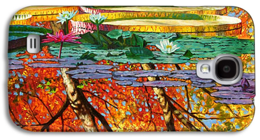 Garden Pond Galaxy S4 Case featuring the painting Fall Reflections 2 by John Lautermilch