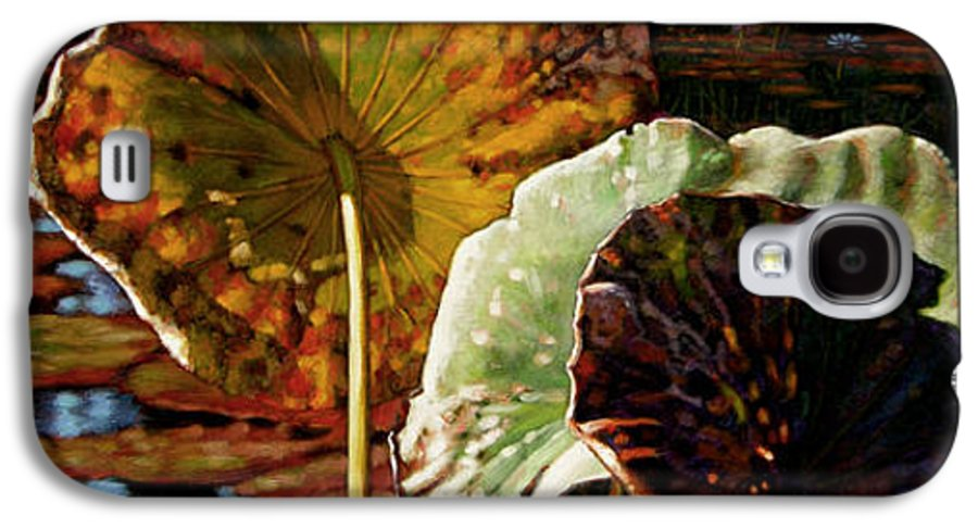 Fall Leaves Galaxy S4 Case featuring the painting Fall Trinity by John Lautermilch