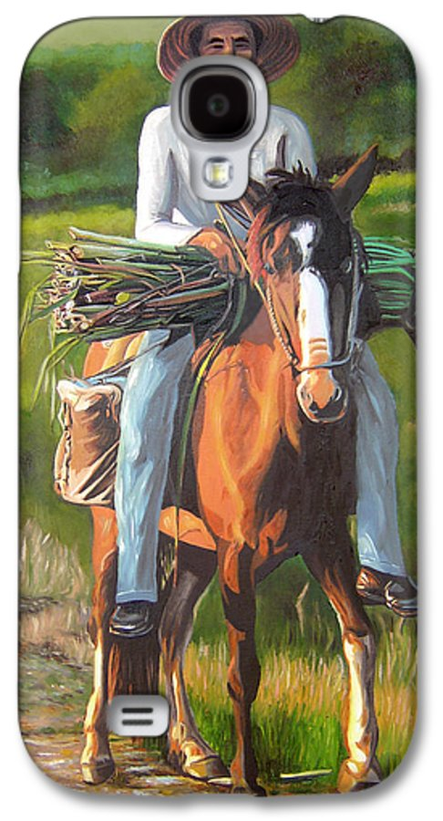 Cuban Art Galaxy S4 Case featuring the painting Farmer On A Horse by Jose Manuel Abraham
