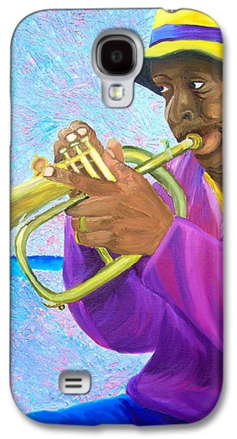 Street Musician Galaxy S4 Case featuring the painting Fat Albert Plays The Trumpet by Michael Lee