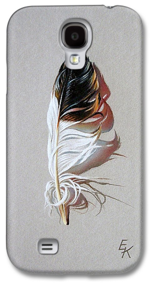 Still Life Feather Galaxy S4 Case featuring the drawing Feather And Shadow 3 by Elena Kolotusha