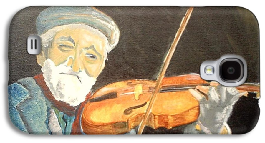Hungry He Plays For His Supper Galaxy S4 Case featuring the painting Fiddler Blue by J Bauer