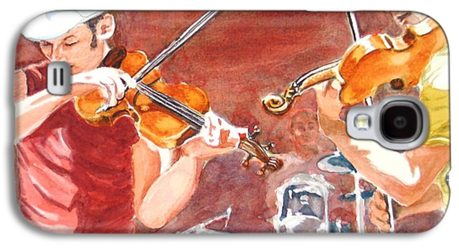 Musicians Galaxy S4 Case featuring the painting Fiddles by Karen Ilari