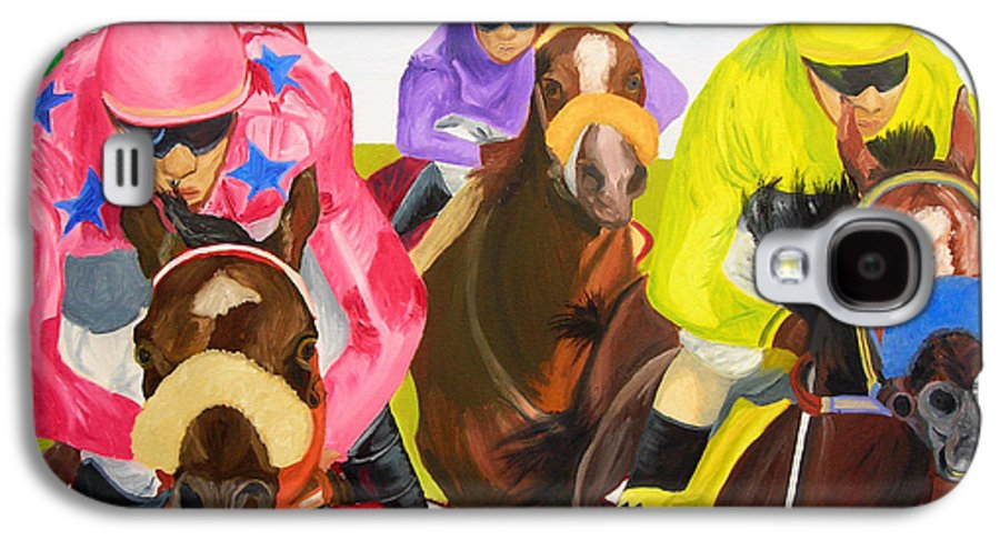 Horse Racing Galaxy S4 Case featuring the painting Finish Line by Michael Lee