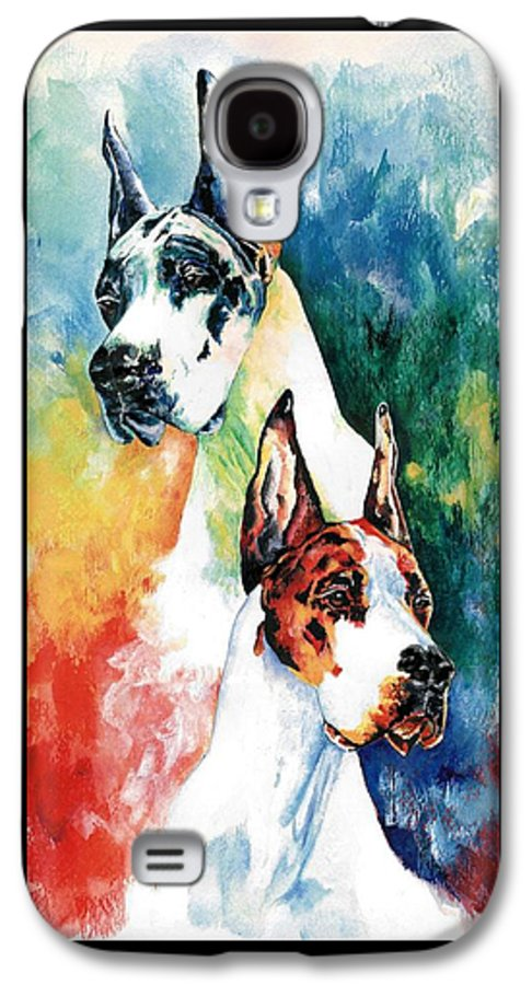 Great Dane Galaxy S4 Case featuring the painting Fire And Ice by Kathleen Sepulveda