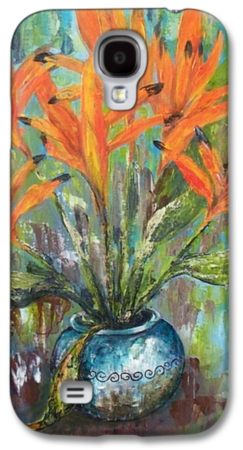 Galaxy S4 Case featuring the painting Fire Flowers by Carol P Kingsley