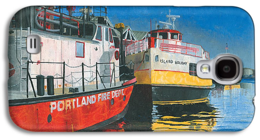 Fireboat Galaxy S4 Case featuring the painting Fireboat And Ferries by Dominic White