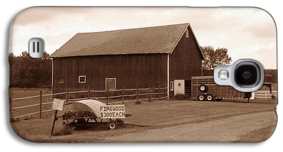 Barn Galaxy S4 Case featuring the photograph Firewood For Sale by Rhonda Barrett