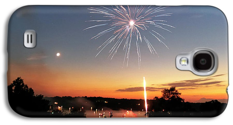 Fireworks Galaxy S4 Case featuring the photograph Fireworks And Sunset by Amber Flowers